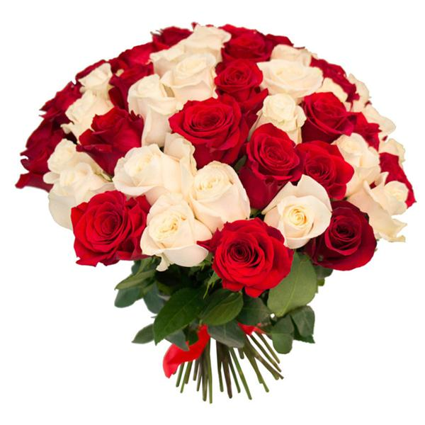 Bouquet of 51 Red White Roses