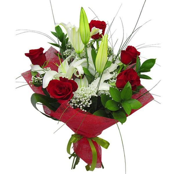 Букет Красных Роз И Лилий